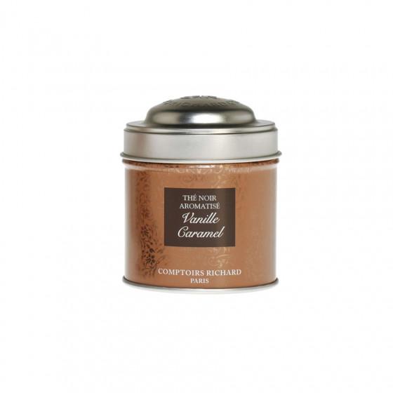 Thé noir aromatisé Vanille caramel boîte métal vrac 30g