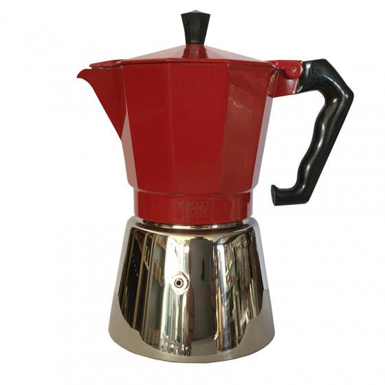 Cafetière Moka italienne 6 tasses rouge à induction