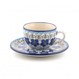 Tasse et soucoupe Bunzlau Castle motif Blue Violets 22.5cl