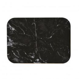Plateau rectangulaire imitation marbre noir 28x20cm