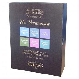 Coffret tisanes bio Les Vertueuses Comptoirs Richard x36 sachets voiles assortis suremballés