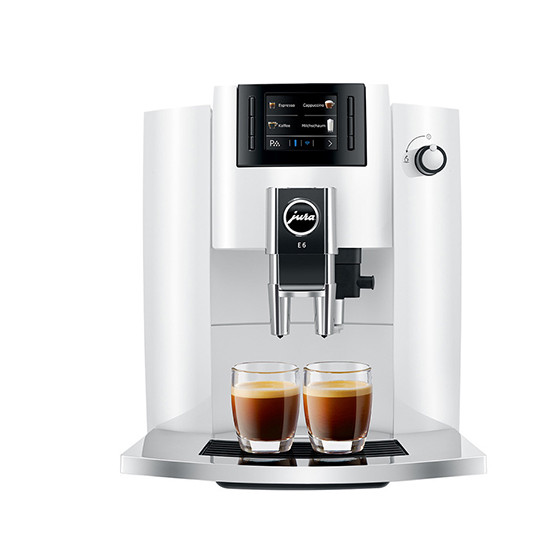Robot café JURA E6 Piano White et 2 paquets de 250g de café en grains et 6 verres à café 9cl offerts