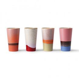 Coffret ' tasses latte en céramique des années 70 28cl