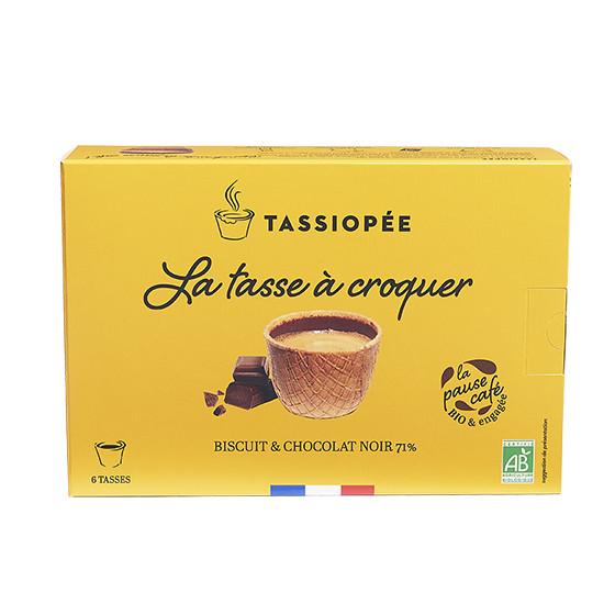 Boîte de 6 tasses à croquer au chocolat noir 71%