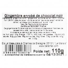 Gingembre confit enrobé de chocolat noir 110g