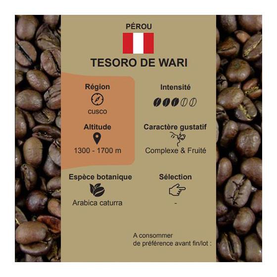 Café torréfié pur arabica Tesoro de Wari du Pérou