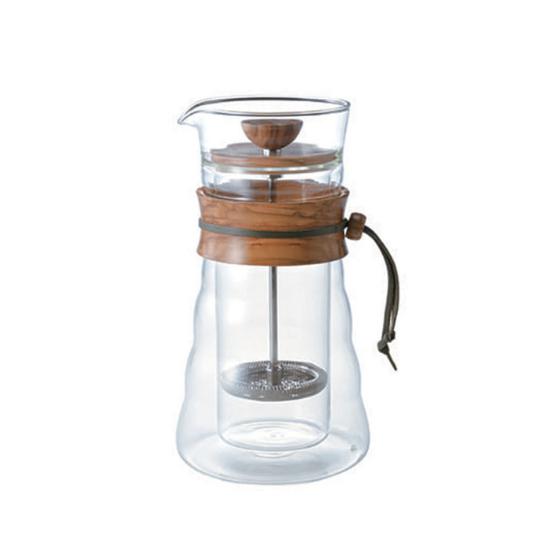 Cafetière à piston double paroi en verre et en olivier 3 tasses Hario